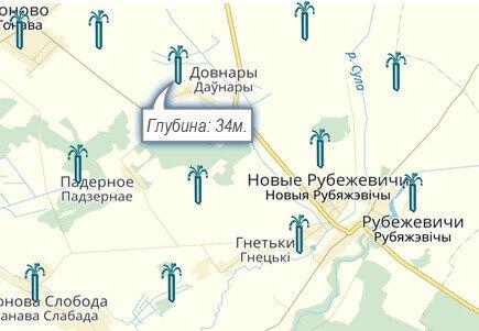 Карта бурения скважин в Минской облавсти Беларусь